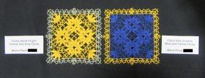 Cluny jaune et gris avec Cluny bleu et jaune